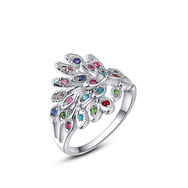Ronux Jewel affordable fashionable colourful Austrian crystal feather shape silver ring