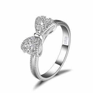 Ronux jewel women 925 sterling silver ring with cubic zirconia bow