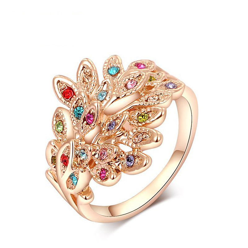 Ronux Jewel affordable fashionable colourful Austrian crystal feather shape rose gold ring