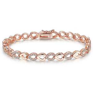 Ronux jewel rose gold heart chain bracelet with cubic zirconia stones