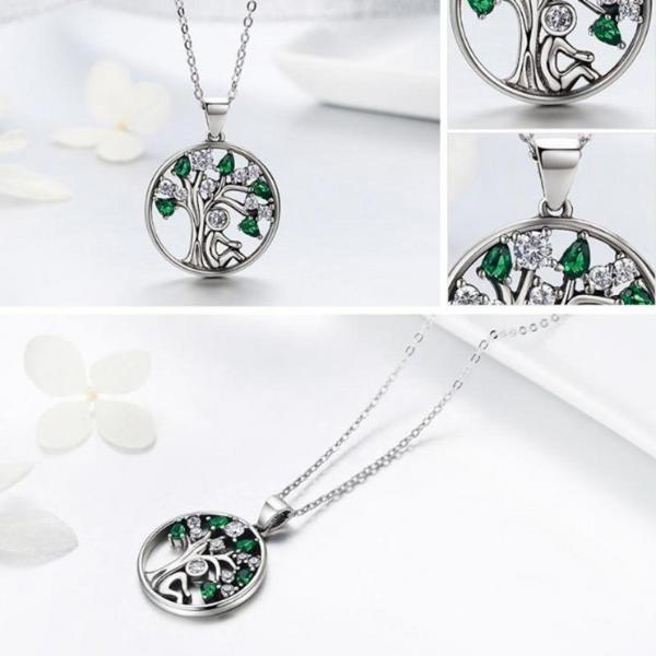 Ronux jewel 925 sterling silver family life tree round shape pendant necklace with green and clear cubic zirconia for women