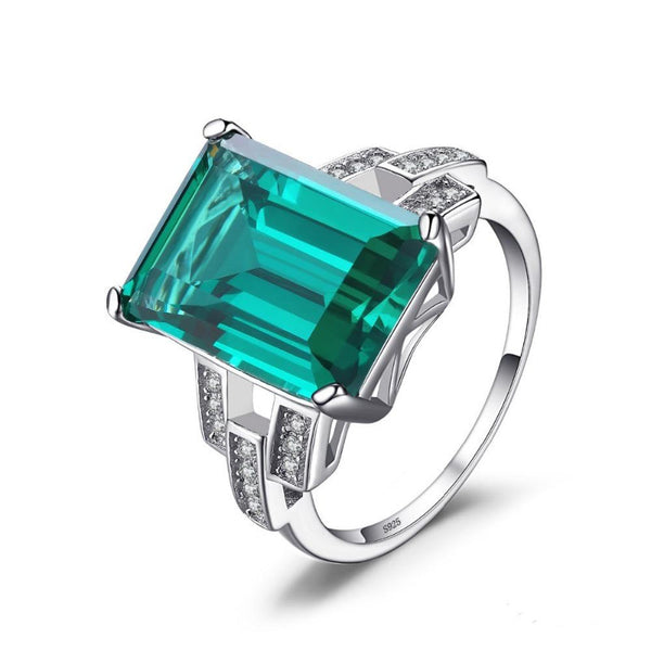 Ronux jewel women 925 sterling silver classic green emerald gemstone luxury wedding ring, fine bridal jewellery