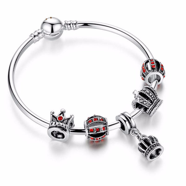Ronux jewel red crystal pendant crown and ball silver charm bracelet for women