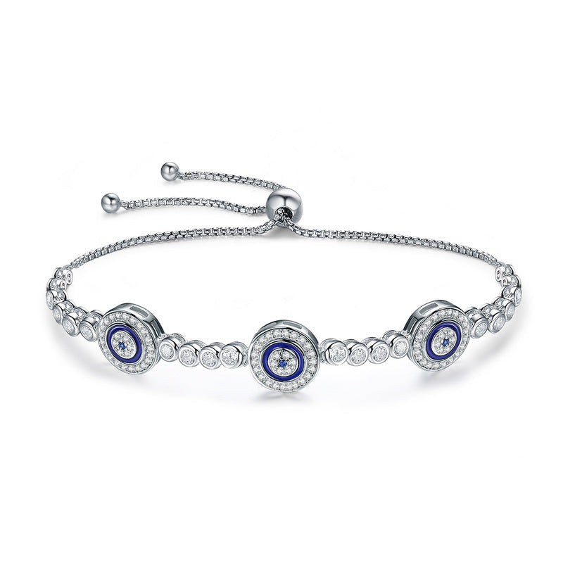 Ronux jewel women 925 sterling silver bracelet with 3 blue lucky eyes charms embellished with cubic zirconia stones