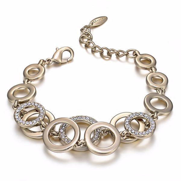 Ronux jewel women elegant double layer round bracelet in light gold