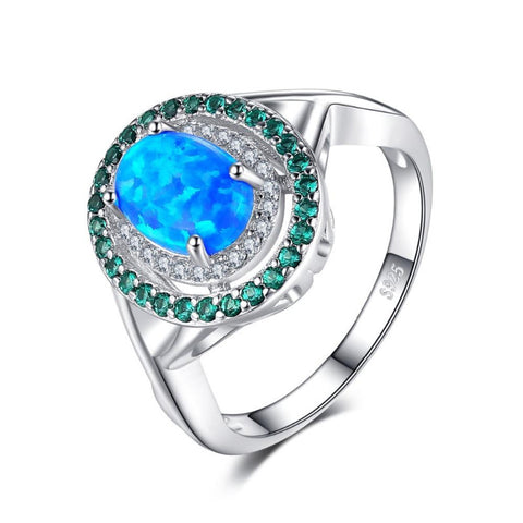 Ronux jewel women luxurious classic 925 sterling silver opal and green emerald gemstone wedding ring