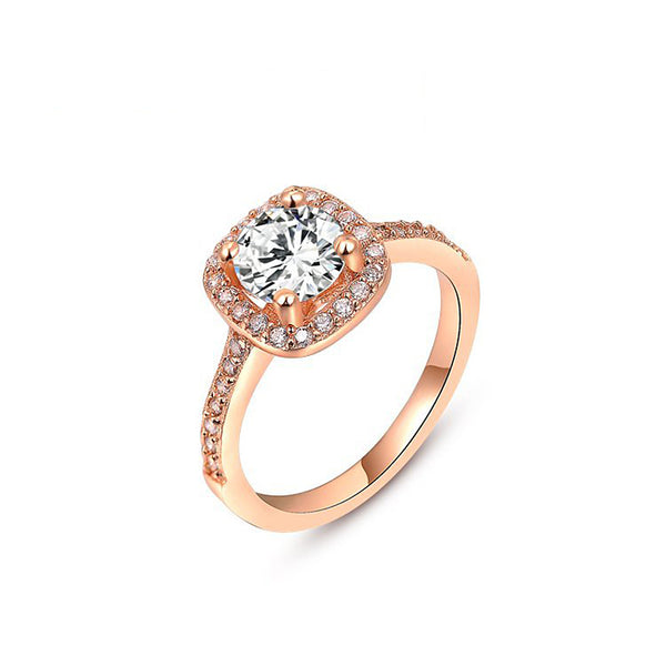 Ronux Jewel affordable fashionable women rose gold wedding and engagement classic ring with cubic zirconia gemstone