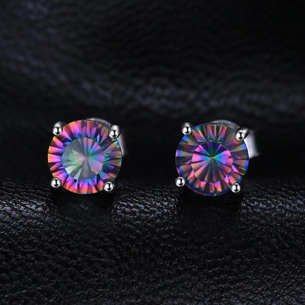 Ronux Jewel bridal gemstone jewellery gift set, sterling silver luxurious round shape rainbow mystic topaz stud earrings