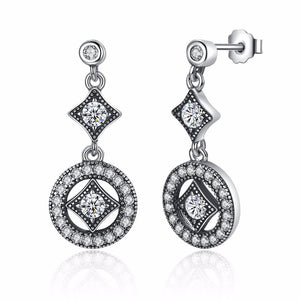 Ronux jewel 925 sterling silver classic round shape geometric drop earrings with cubic zirconia for women