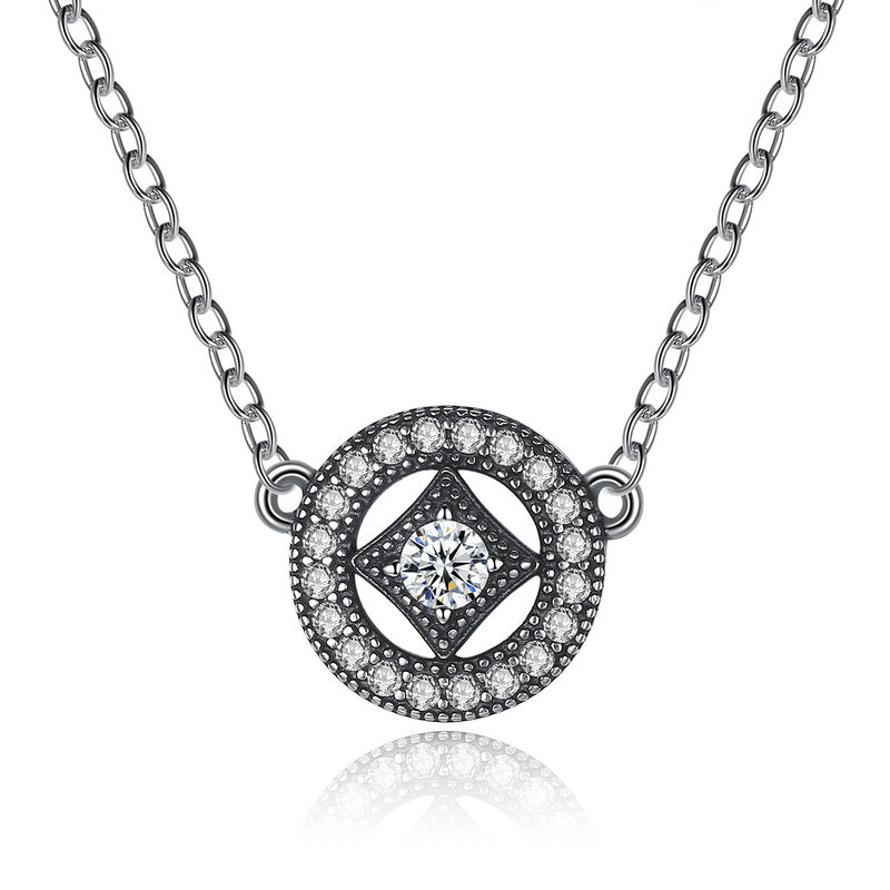Ronux jewel 925 sterling silver classic round shape geometric pendant necklace for women