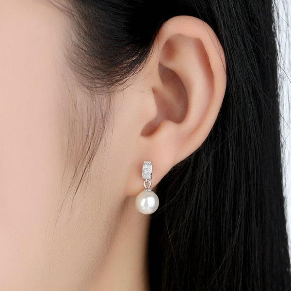 Ronux jewel women 925 sterling silver classic drop earrings with white pearls and cubic zirconia gemstones