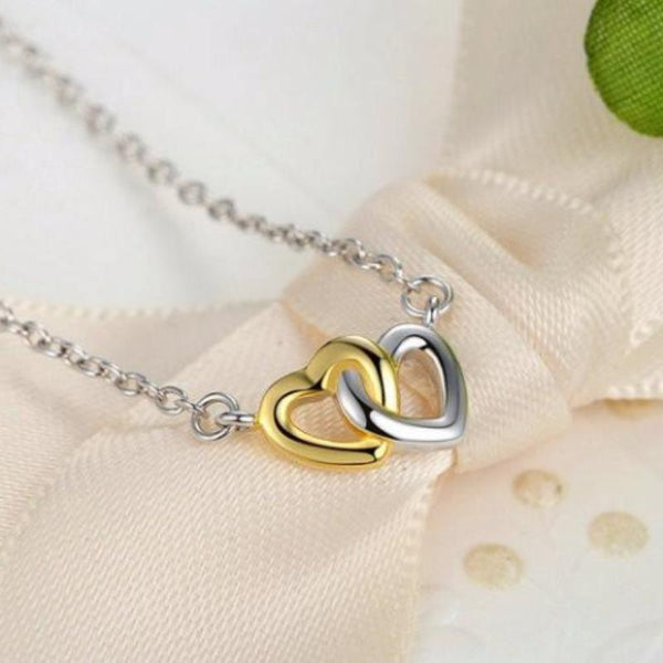 Ronux jewel 925 sterling silver necklace with gold and silver united interlinked hearts pendant for women