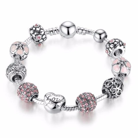 Ronux jewel heart and flower bead pink and silver charm bracelet, friendship bracelet
