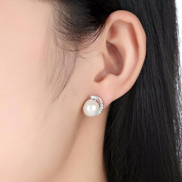 Ronux jewel women classic 925 sterling silver white pearl stud earrings