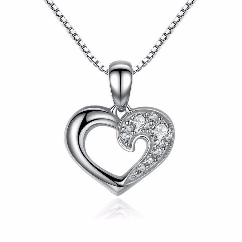 Ronux jewel women 925 sterling silver heart shape pendant necklace with sparkling cubic zirconia stones