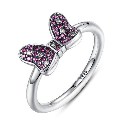 Ronux jewel women 925 sterling silver Disney ring with pink and purple Minnie mouse bow with cubic zirconia stones