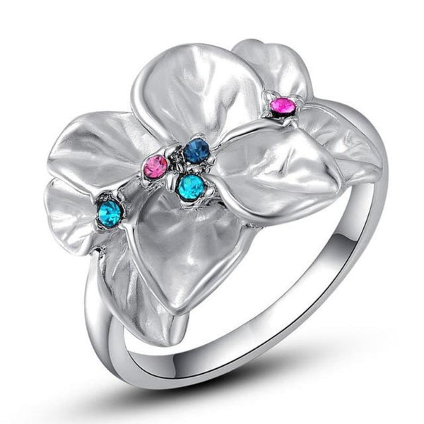Ronux Jewel affordable trendy women silver flower leaves ring with colourful crystals and rhinestone