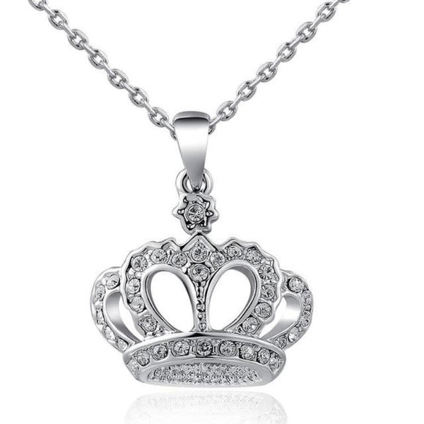 Ronux Jewel affordable trendy women crown shape silver pendant necklace