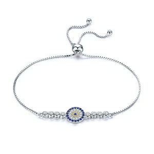 Ronux jewel women 925 sterling silver bracelet with a blue lucky eye charm embellished with cubic zirconia stones