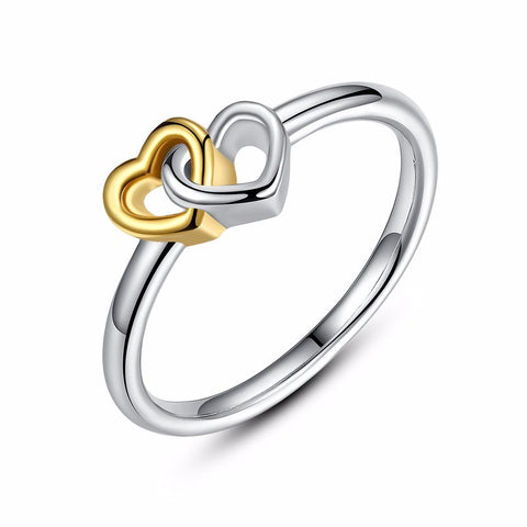 Ronux jewel women 925 sterling silver promise ring with gold and silver united hearts