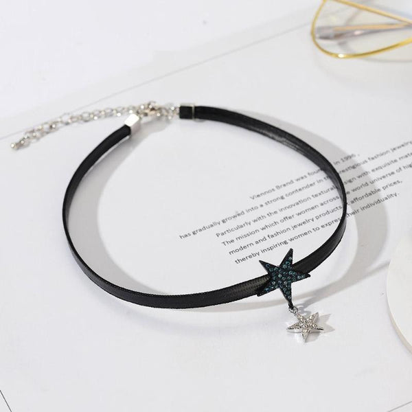Double Star Punk Style Leather Choker