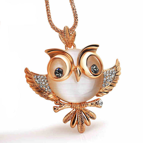 Ronux Jewel gold colour cute owl bird crystal long chain pendant necklace, animal lover accessories