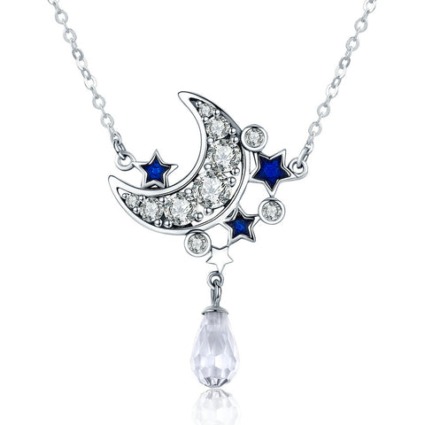 Ronux Jewel women 925 sterling silver moon crescent and blue stars crystal pendant necklace