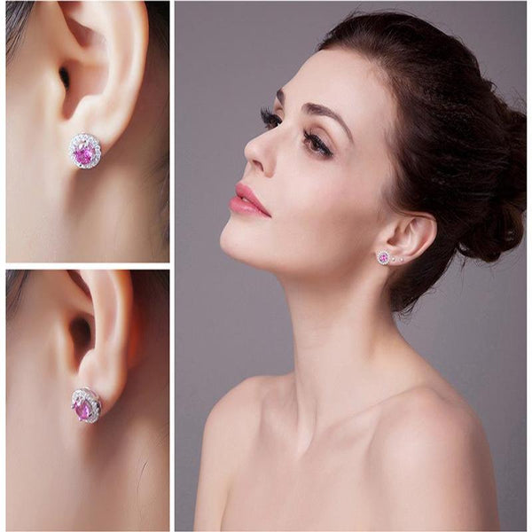 Ronux jewel women 925 sterling silver classic small stud earrings with pink round sapphire, gemstone earrings