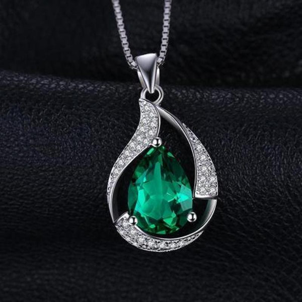 Ronux Jewel women sterling silver luxurious pendant necklace, real green emerald gemstone water drop necklace