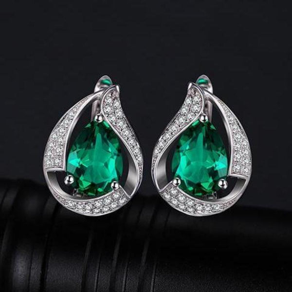 Ronux Jewel Women Bridal sterling silver luxurious clip earrings, real green emerald gemstone water drop clip earrings