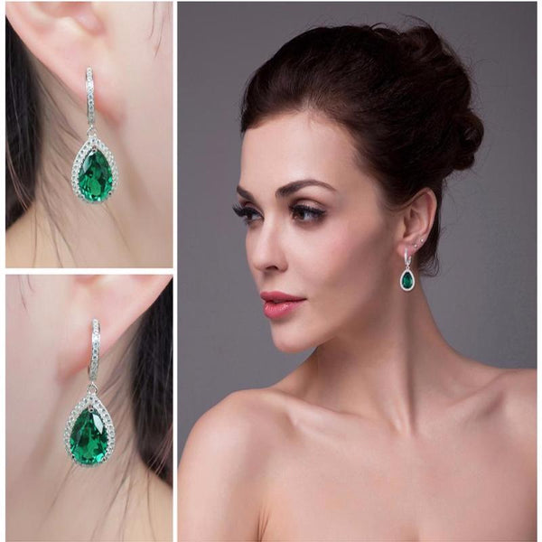 Ronux jewel Luxury Bridal Long Earring, 925 sterling silver drop earrings with precious green emerald for women, gemstone jewellery