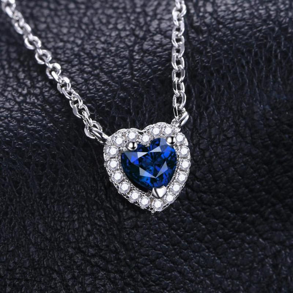 Ronux jewel 925 sterling silver blue sapphire heart shape pendant necklace for women, bridal gemstone fine jewellery