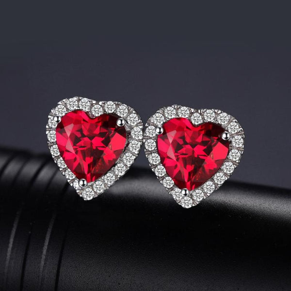 Ronux Jewel bridal gemstone jewellery gift set, sterling silver luxurious heart shape red ruby stud earrings