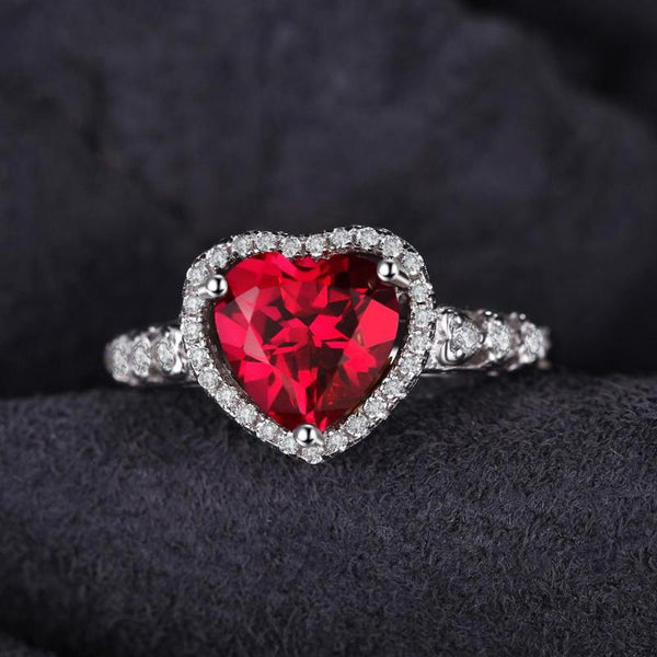Ronux Jewel bridal gemstone wedding ring, sterling silver luxurious heart shape red ruby engagement ring