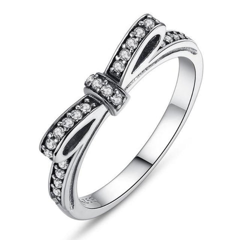 Ronux jewel women 925 sterling silver luxurious bow shape promise ring