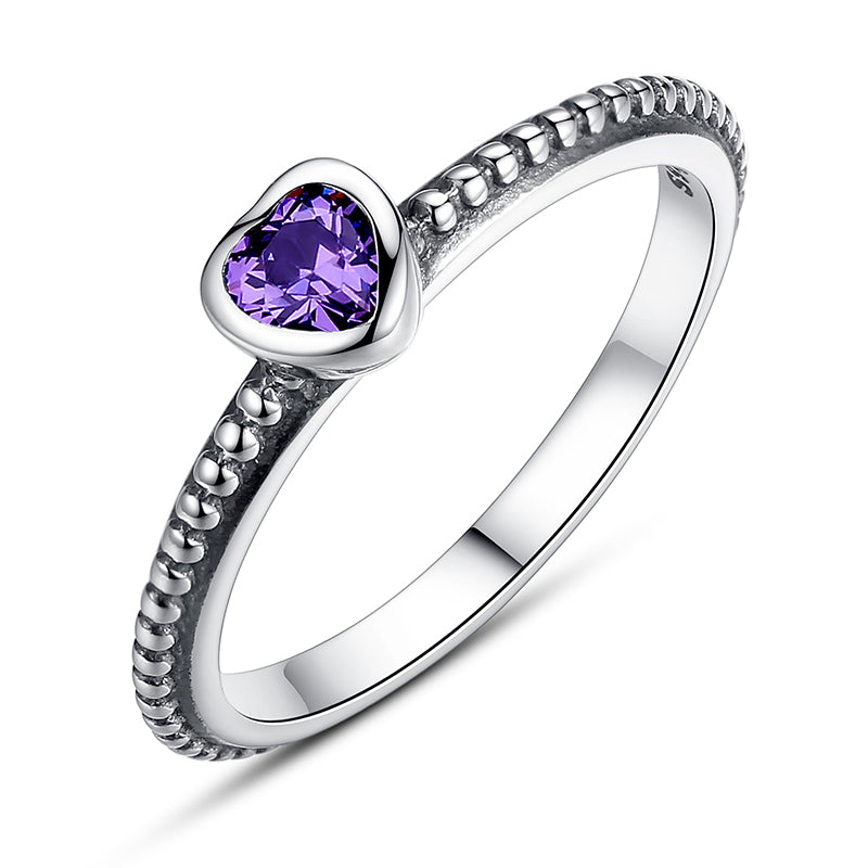 Ronux jewel women 925 sterling silver luxurious purple crystal heart engagement ring