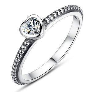 Ronux jewel women 925 sterling silver luxurious clear crystal heart engagement ring