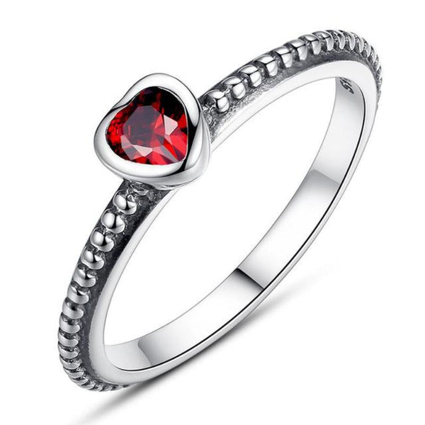 Ronux jewel women 925 sterling silver luxurious red crystal heart engagement ring