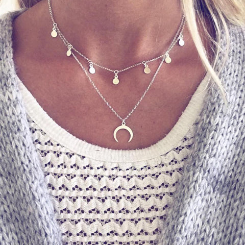 Crescent Moon Multilayer Choker