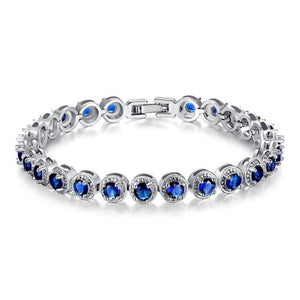 Ronux jewel women silver round cut chain bracelet with blue cubic zirconia stones, gemstone bracelet