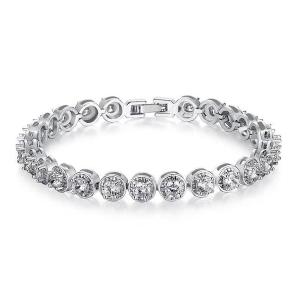 Ronux jewel women silver round cut chain bracelet with clear cubic zirconia stones, gemstone bracelet