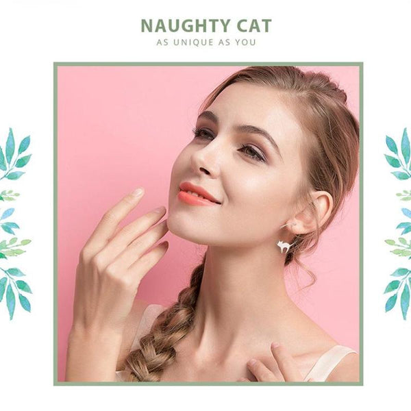 Ronux jewel women 925 sterling silver cute cat drop earrings, cat lover earrings, pet lovers accessories