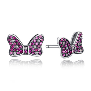 Ronux jewel 925 sterling silver cute Minnie mouse stud earrings with pink cubic zirconia for girls and women, Disney accessories