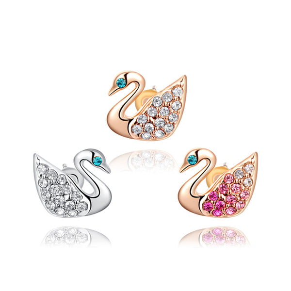 Ronux Jewel fashion small stud earrings, animal lovers cute earrings, women swan bird shape rose gold and silver stud earrings with clear and pink crystals