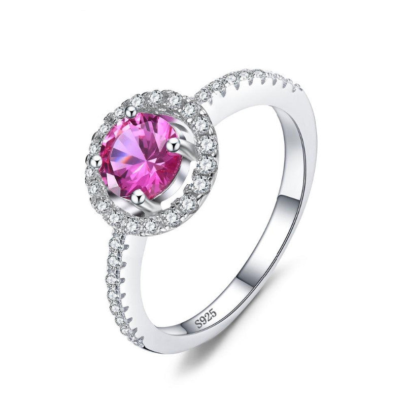 Ronux jewel women 925 sterling silver classic engagement ring with pink round sapphire gemstone