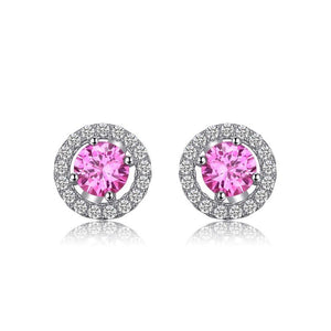 Ronux jewel women 925 sterling silver classic stud earrings with pink round sapphire, gemstone jewellery
