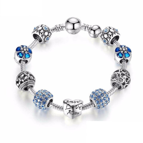 Ronux jewel heart and flower bead blue and silver crystal charm bracelet, friendship bracelet
