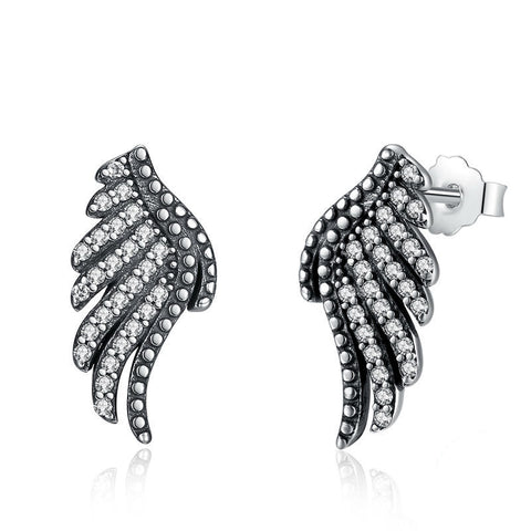 Ronux jewel 925 sterling silver phoenix bird wing feather shape stud earrings for women