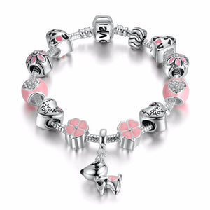 Ronux jewel heart and flower lovely dog bead in pink and silver love charm bracelet, friendship bracelet, animal lovers jewellery
