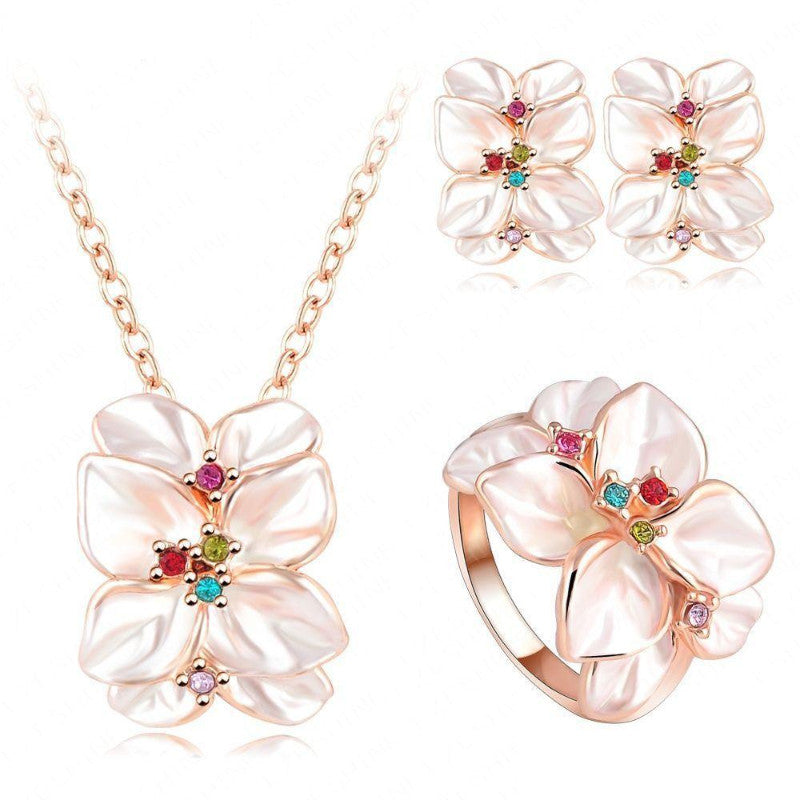 Ronux Jewel women trendy cheap bridal floral colourful rose leaves shape rose gold 3 piece Jewellery Set including pendant necklace, ring and earrings